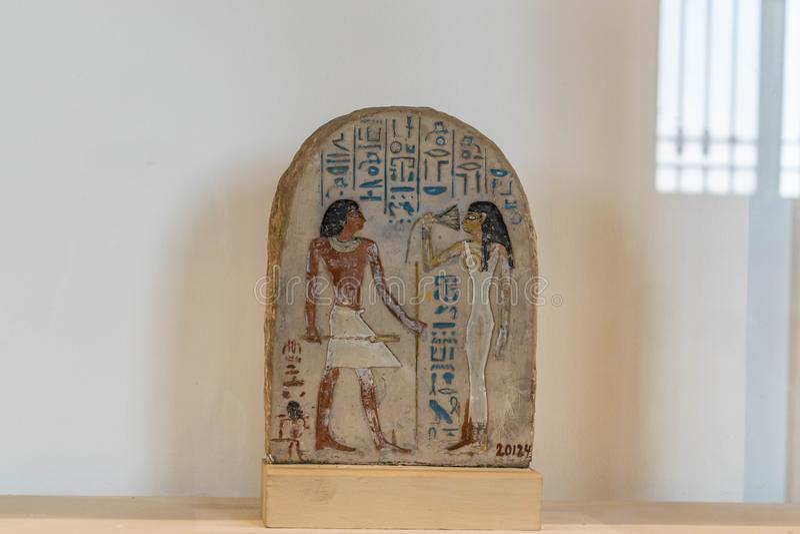De oude Scènes van Egypte in Hiërogliefen op de Steen stock afbeelding