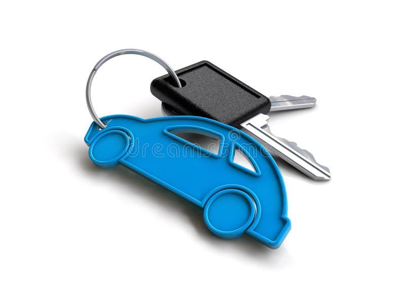 De oude sleutels van de stijlauto met de sleutelring van het autopictogram Concept voor het bezitten van een voertuig royalty-vrije illustratie