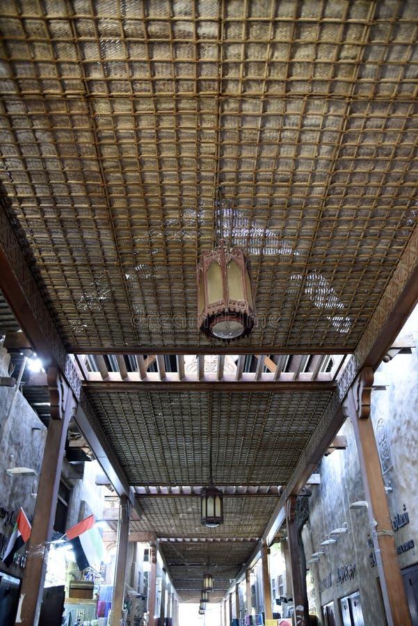 De Oude Souq Buurt van Al Fahidi Historical en van Doubai, Doubai, Verenigde Arabische Emiraten royalty-vrije stock afbeelding