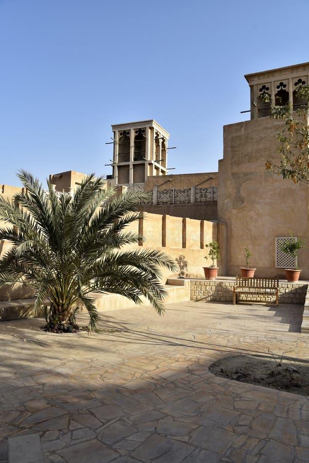 De Oude Souq Buurt van Al Fahidi Historical en van Doubai, Doubai, Verenigde Arabische Emiraten stock fotografie