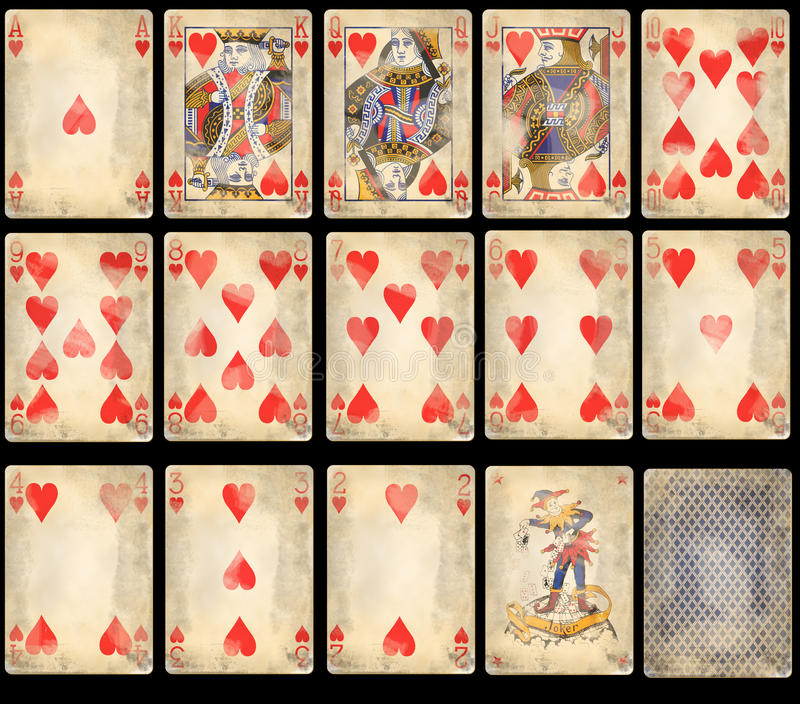 De oude Speelkaarten van de Pook - Harten stock afbeelding