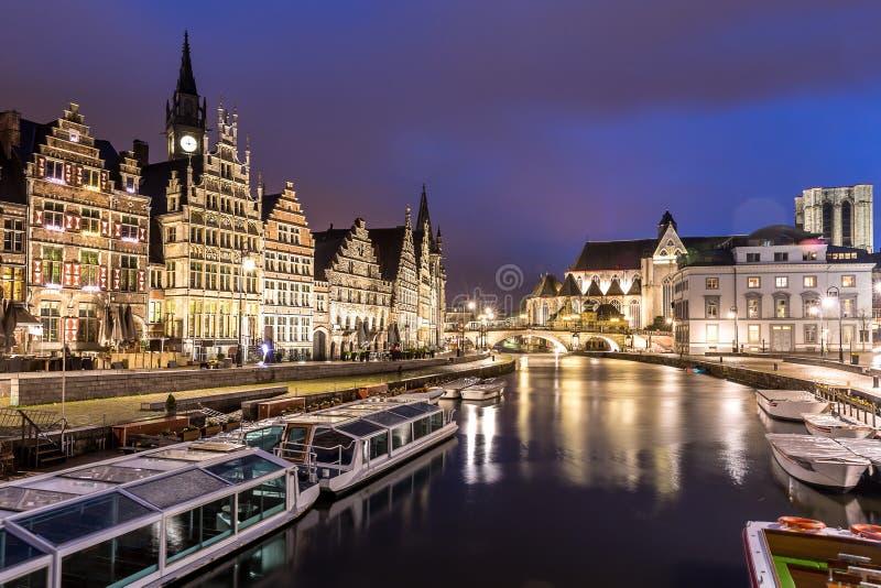 De Oude stad België van Gent royalty-vrije stock afbeeldingen