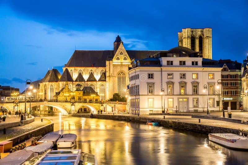 De Oude stad België van Gent stock foto