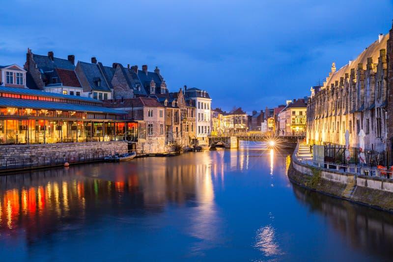 De Oude stad België van Gent stock fotografie