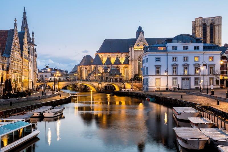 De Oude stad België van Gent royalty-vrije stock afbeelding