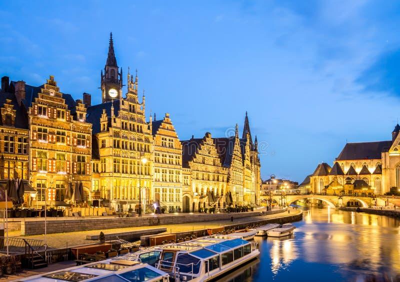 De Oude stad België van Gent stock foto's