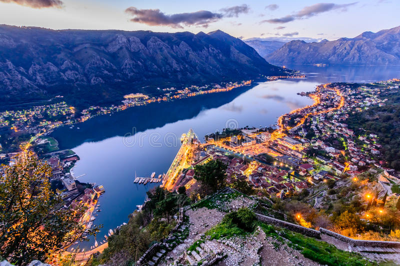 De oude stad Kotor stock foto's