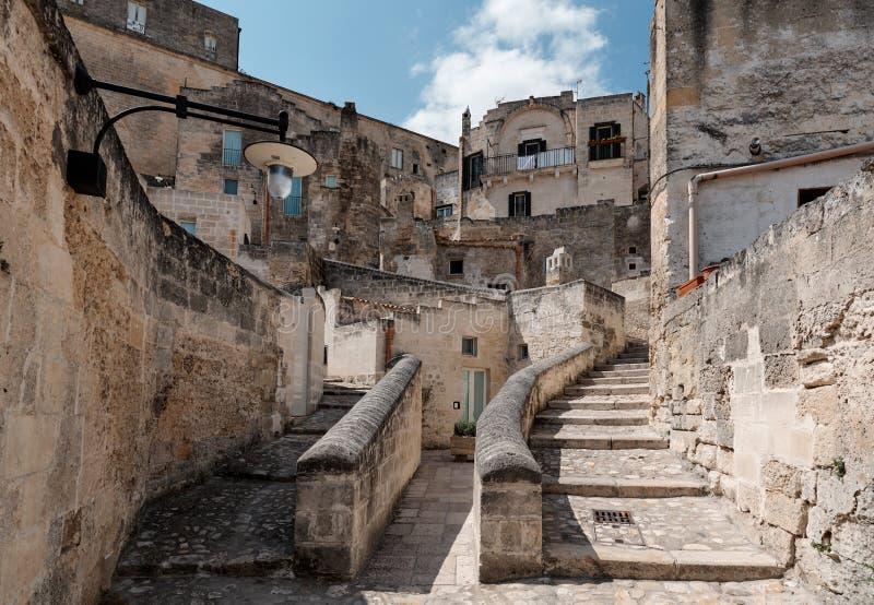 In de oude stad Matera Sassi di Matera, Culturele Hoofdstad van Europa 2019, Basilicata, Italië royalty-vrije stock foto's