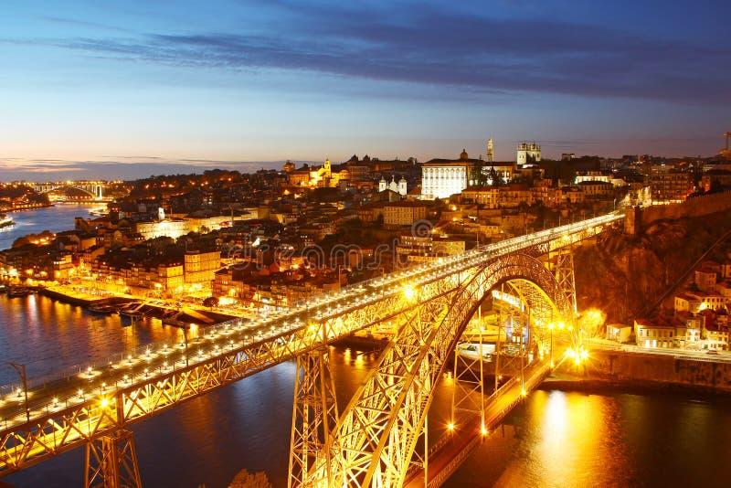 De oude stad van Dom Luis Bridge en Porto, Portugal stock afbeelding