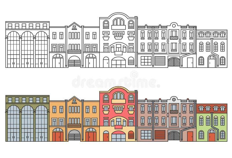 De oude stad van Europa straat huizen Horizontale illustratie stock illustratie