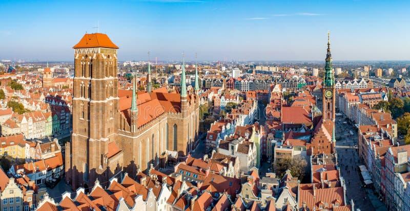 De oude stad van Gdansk, Polen Luchtpanorama stock afbeeldingen