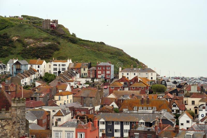 De oude stad van Hastings. stock afbeeldingen