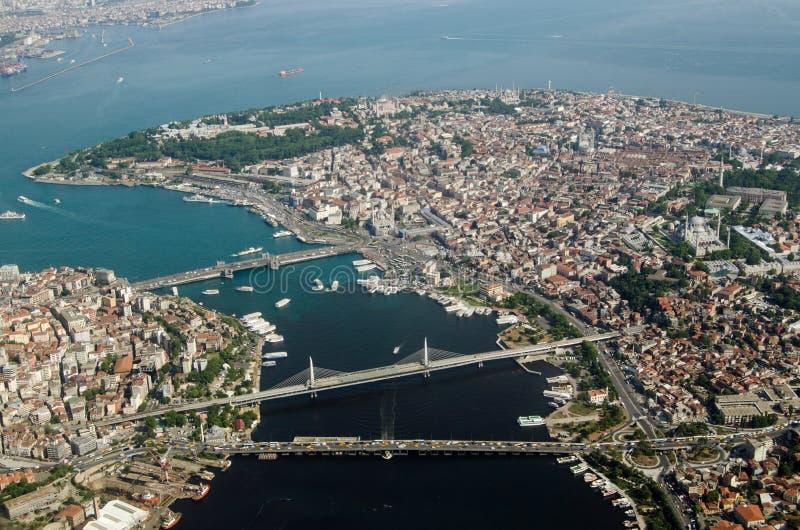 De Oude Stad van Istanboel en Gouden Hoorn, luchtmening stock afbeelding