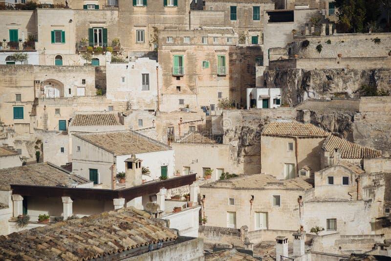 De oude stad van Matera in de plaats van Unesco van Italië stock afbeeldingen