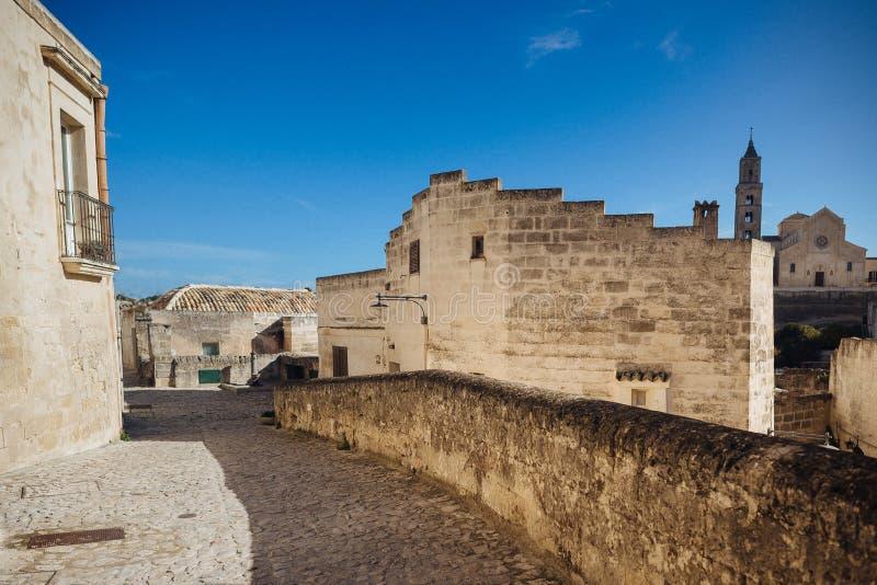 De oude stad van Matera in de plaats van Unesco van Italië stock fotografie