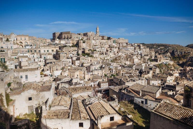 De oude stad van Matera in de plaats van Unesco van Italië royalty-vrije stock fotografie