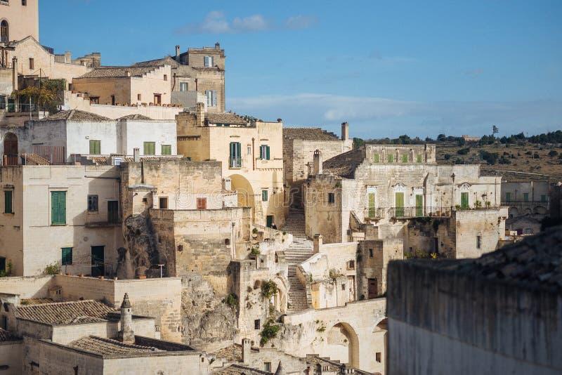 De oude stad van Matera in de plaats van Unesco van Italië royalty-vrije stock afbeeldingen