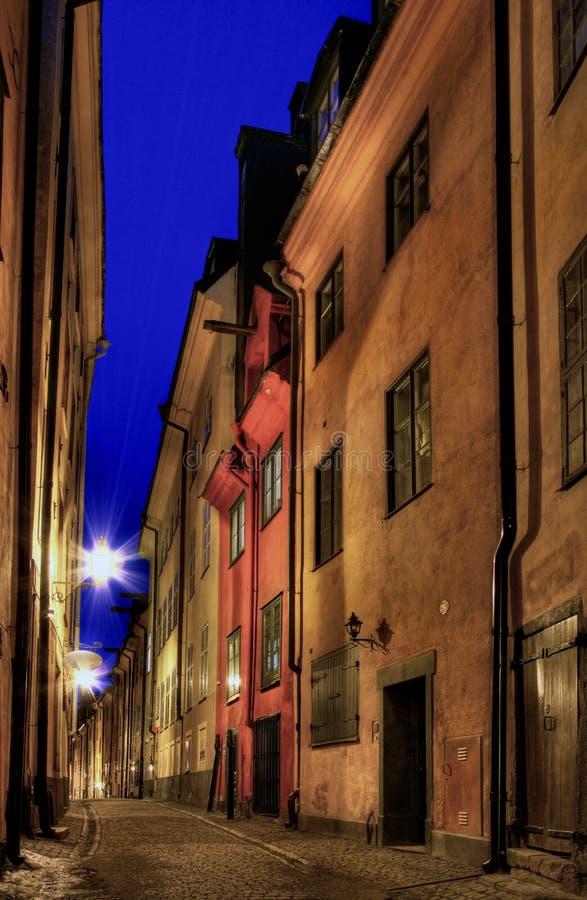 De Oude Stad van Stockholm bij nacht. royalty-vrije stock afbeeldingen
