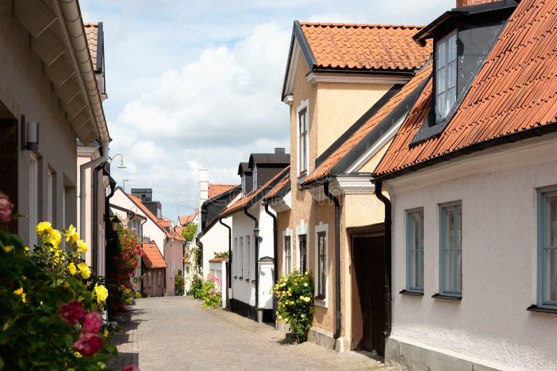 In de oude stad van Visby, Zweden stock afbeeldingen