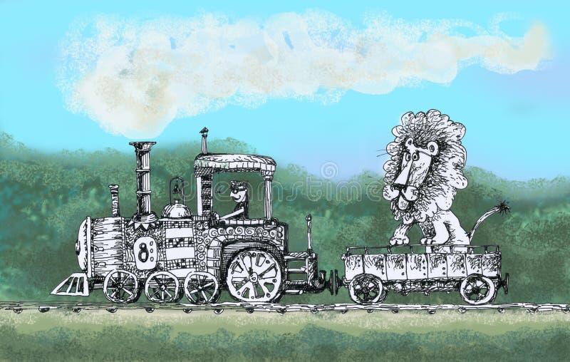 De oude stoomlocomotief draagt een leeuw vector illustratie