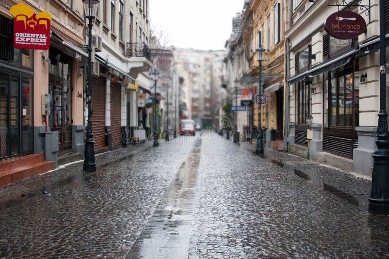 De oude straat van Boekarest royalty-vrije stock fotografie