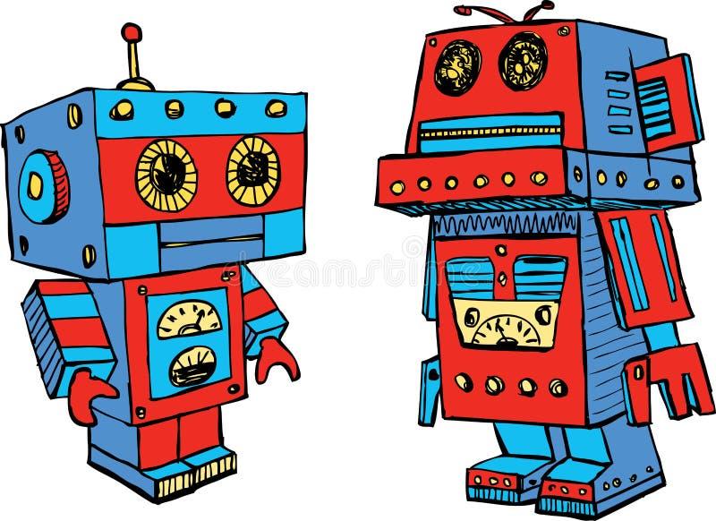 De oude stuk speelgoed robots stock illustratie