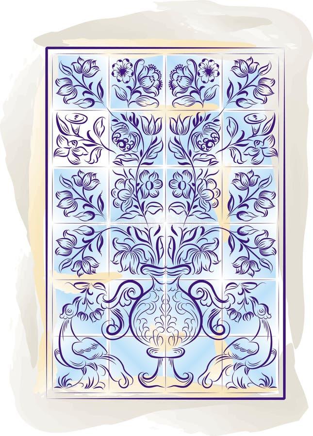 De oude tegels kleuren Portugese achtergrond, illu stock illustratie