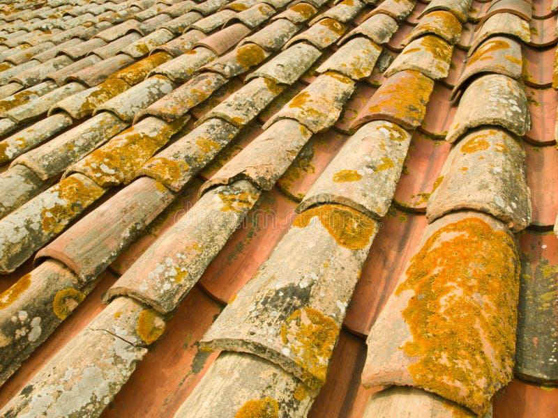 De oude tegels van het terracottadak royalty-vrije stock foto