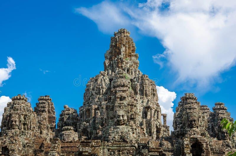 De oude tempel van Bayon van steengezichten in Angkor Thom stock fotografie