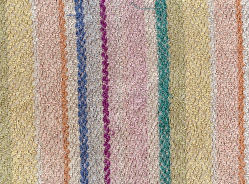 De oude textuur van de kleurenbadhanddoek met strepen royalty-vrije stock afbeeldingen