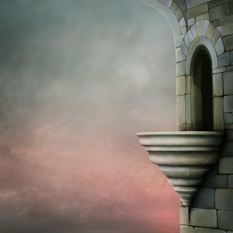 De oude toren met een balkon stock illustratie