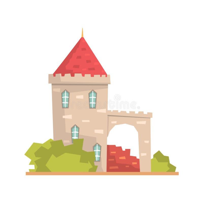 De oude toren van het steenhuis, oude architectuur die vectorillustratie bouwen stock illustratie