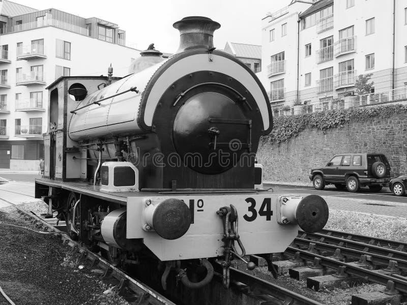 De oude treinen van Bristol Harbour in Bristol in zwart-wit royalty-vrije stock foto