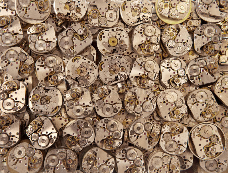 De oude uitstekende antieke achtergrond van horlogesmechanismen royalty-vrije stock foto's