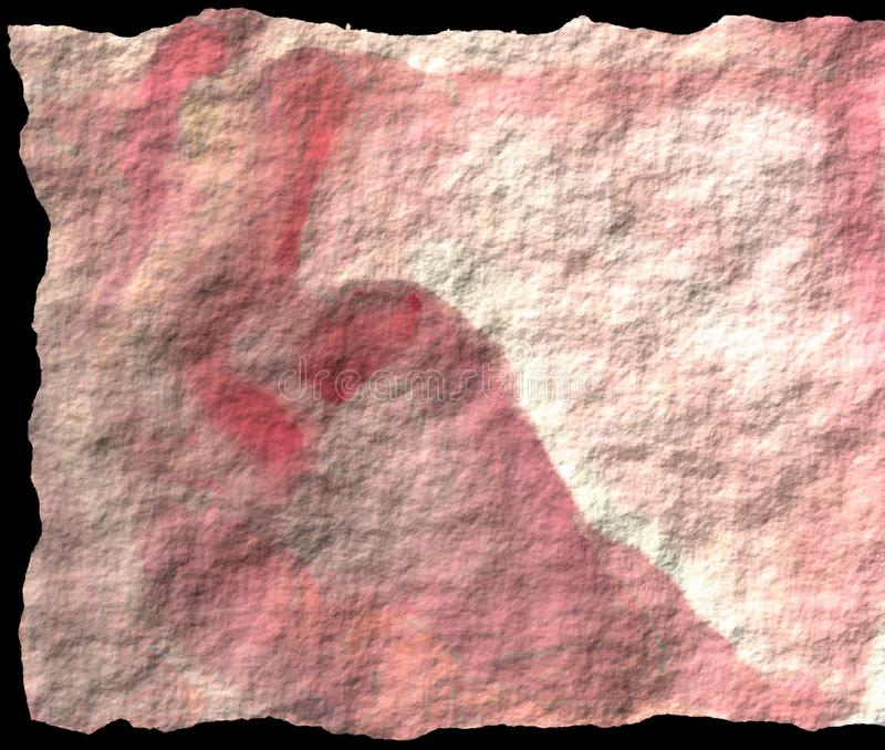 De oude uitstekende of Ruwe document vuile wasbare doek van de stoffendoek met vouwen en vlekken rotsachtig landschap vat achterg stock illustratie