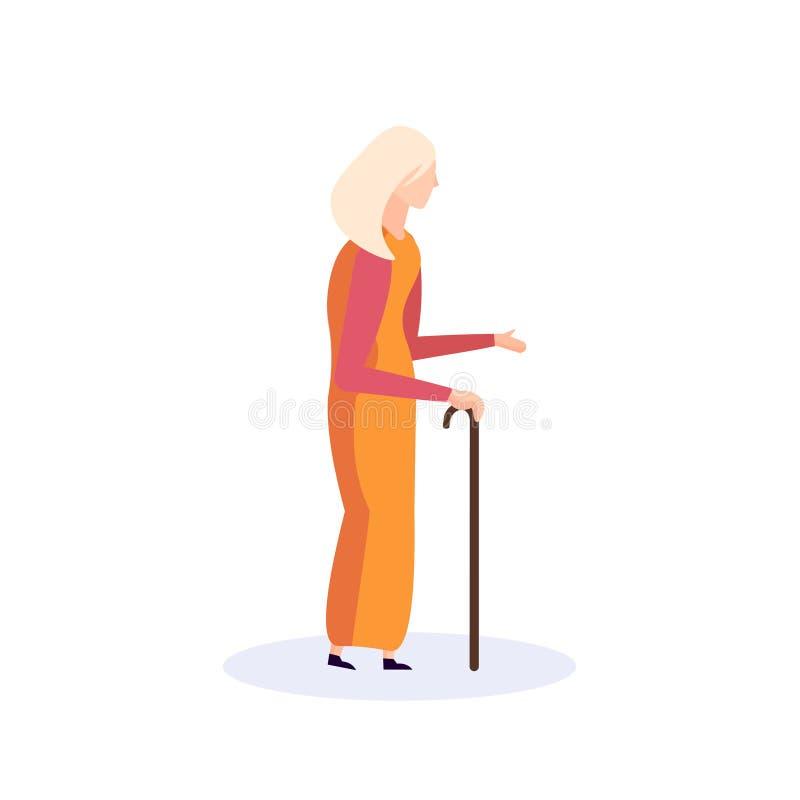 De oude van het de grootmoedergang geïsoleerde beeldverhaal van de vrouwenwandelstok bejaarde vlakte van de het karakter volledig vector illustratie