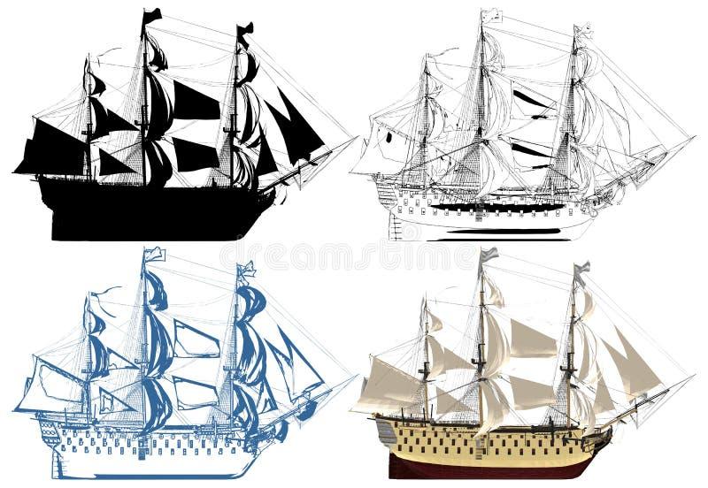 De Oude Vector van de Slagschipillustratie vector illustratie