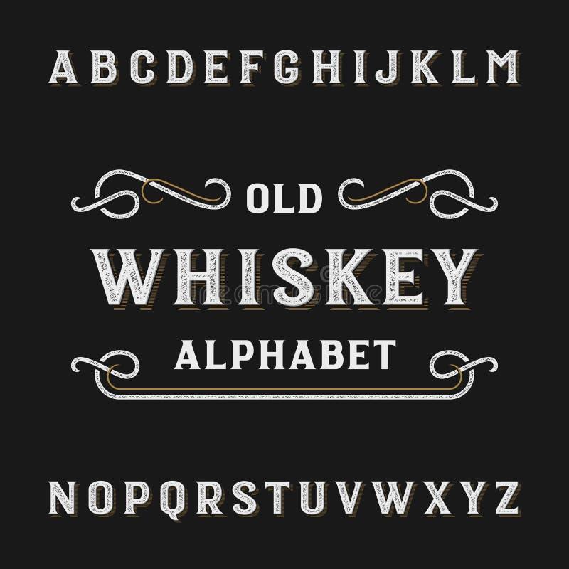 De oude vectordoopvont van het whiskyalfabet stock illustratie