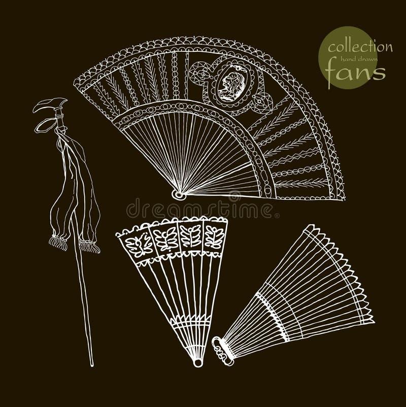 De oude ventilators van inzamelingsvrouwen Vector illustratie royalty-vrije illustratie