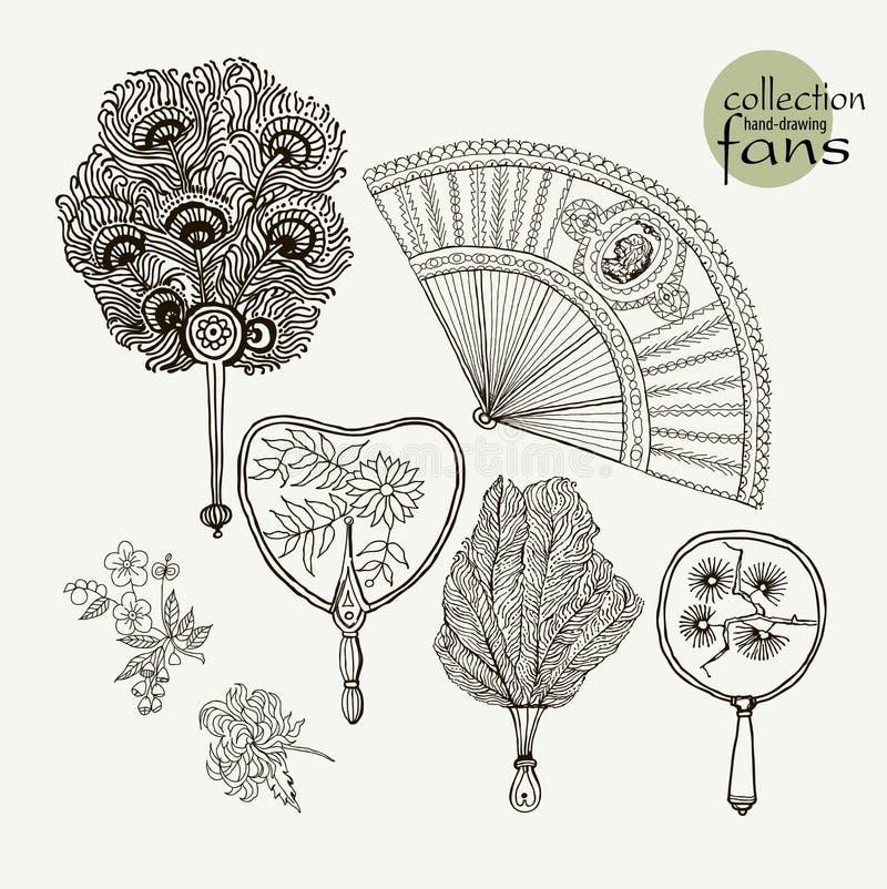 De oude ventilators van inzamelingsvrouwen Vectorillustratieschets op document achtergrond royalty-vrije illustratie