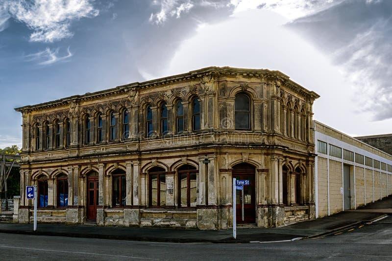 De oude victorian architectuurbouw in Oamaru, Nieuw Zeeland royalty-vrije stock afbeelding
