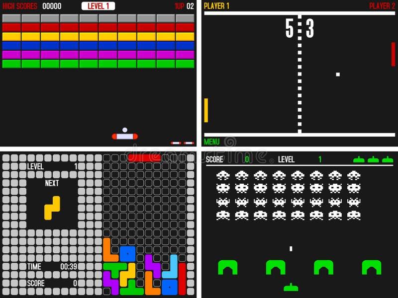 De oude Videospelletjes van de Arcade vector illustratie