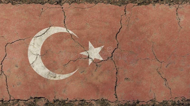 De oude vlag van de grungewijnoogst langzaam verdwenen Republiek Turkije vector illustratie