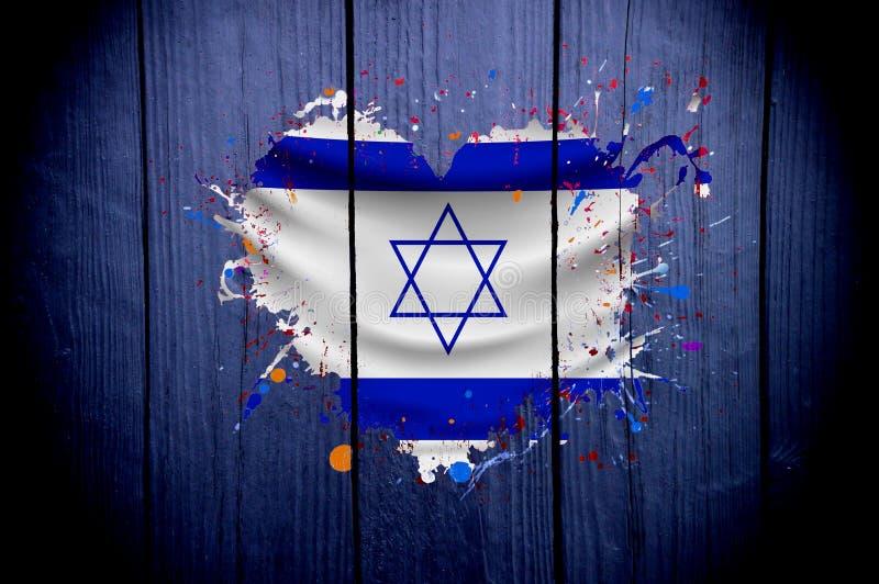 De oude vlag van Israël in de vorm van hart op een donkere achtergrond royalty-vrije illustratie