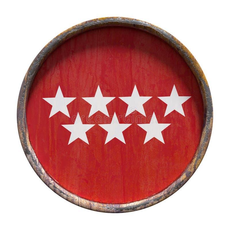 De oude vlag van Madrid stock illustratie