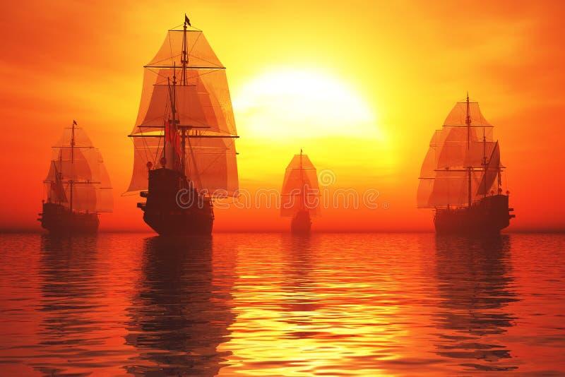 De oude Vloot van het Slagschip in het Overzees in de 3D Zonsopgang van de Zonsondergang geeft terug royalty-vrije illustratie