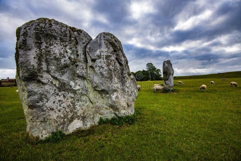De oude voorhistorische steencirkels van Avebury in Wiltshire, Engeland royalty-vrije stock fotografie