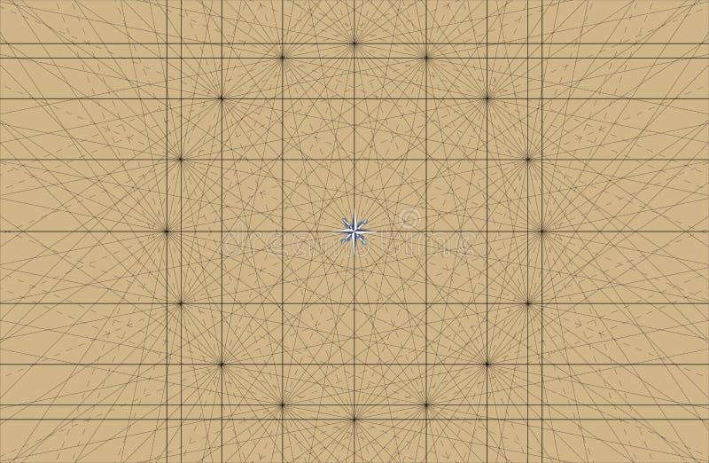 De oude Zeevaartgrafiek Grafiek Vector Achtergrond van Portolan met Rhumbline-het Net van Netwerklijnen vector illustratie