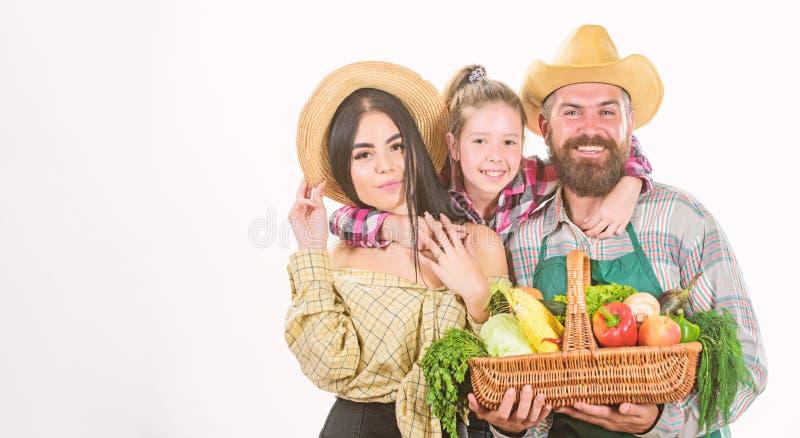 De ouders en de dochter vieren het festivalconcept van de oogstoogst Geïsoleerde de oogst van de tuinliedengroenten van familiela royalty-vrije stock fotografie