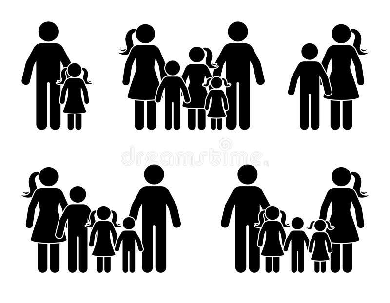 De ouders en de kinderenpictogramreeks van het stokcijfer Groot gelukkig familie zwart pictogram vector illustratie